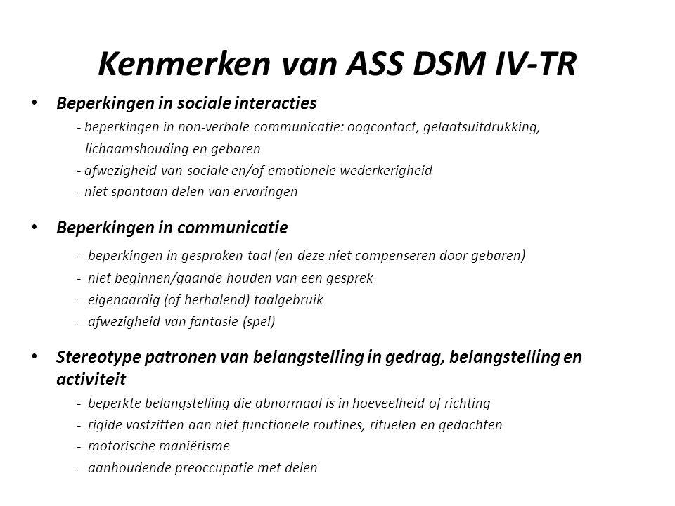 Kenmerken van ASS DSM IV-TR