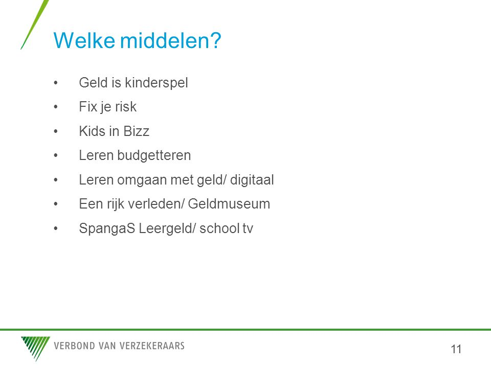 Welke middelen Geld is kinderspel Fix je risk Kids in Bizz
