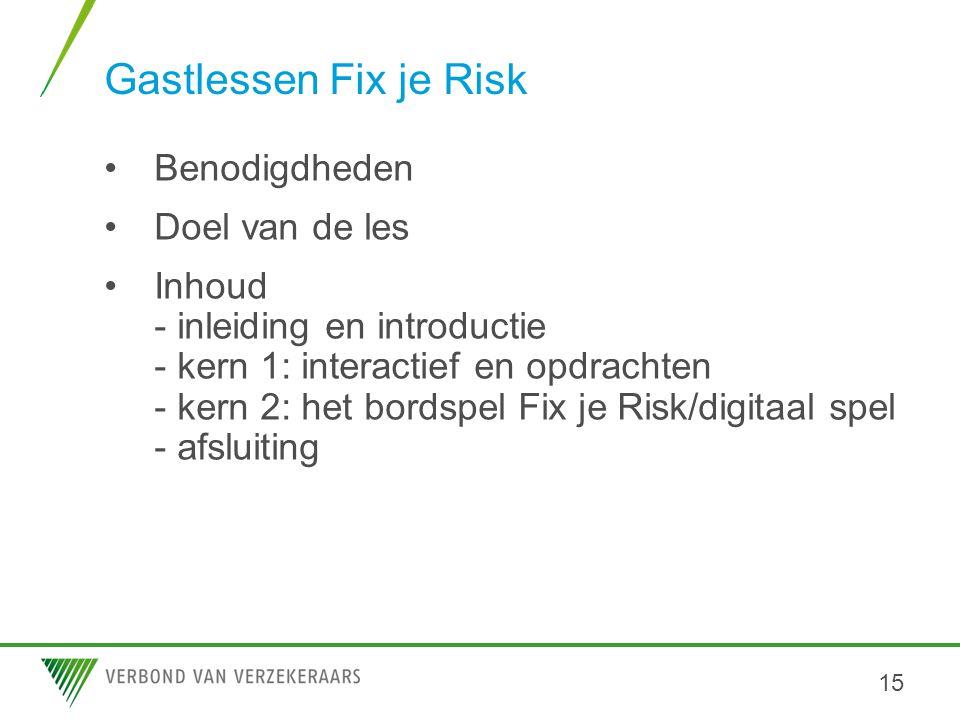 Gastlessen Fix je Risk Benodigdheden Doel van de les