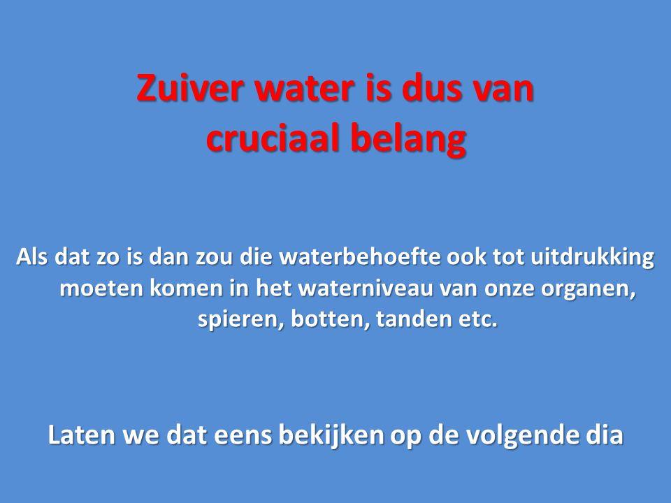 Zuiver water is dus van cruciaal belang