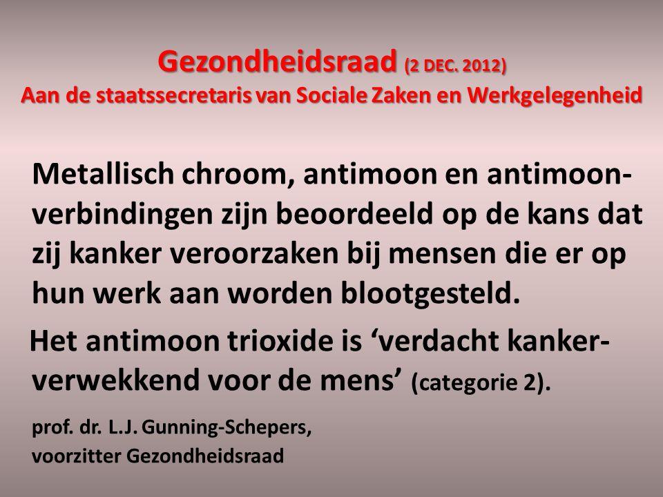 Gezondheidsraad (2 DEC. 2012) Aan de staatssecretaris van Sociale Zaken en Werkgelegenheid