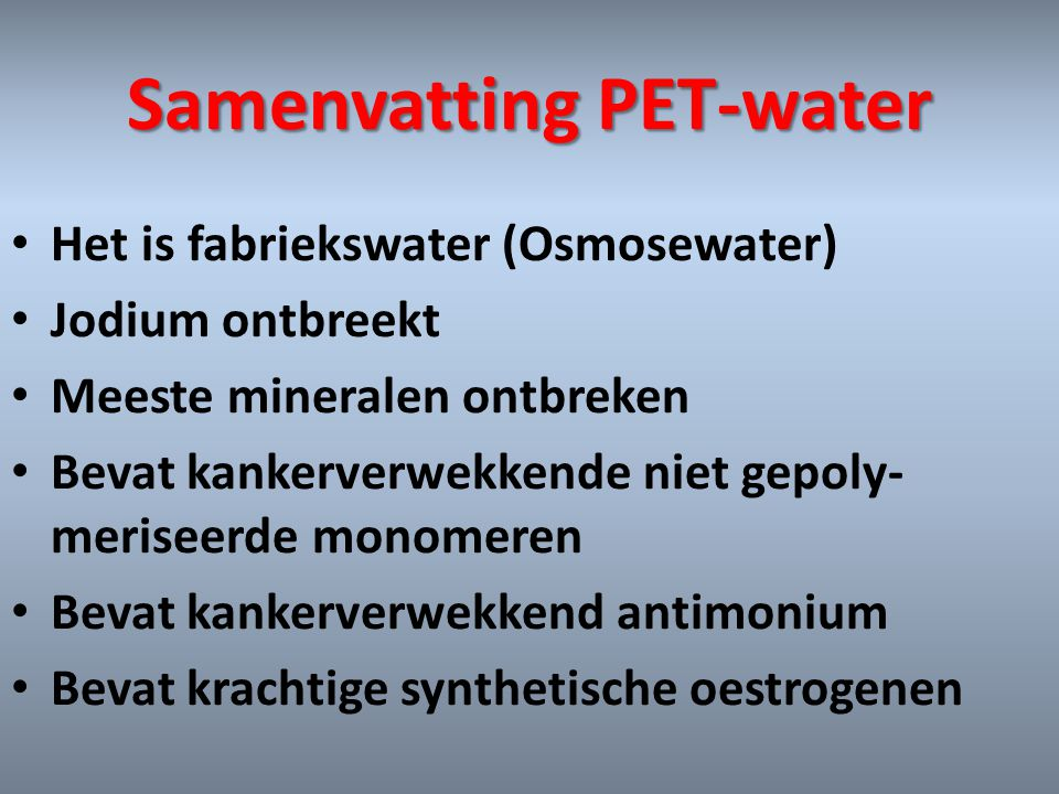 Samenvatting PET-water