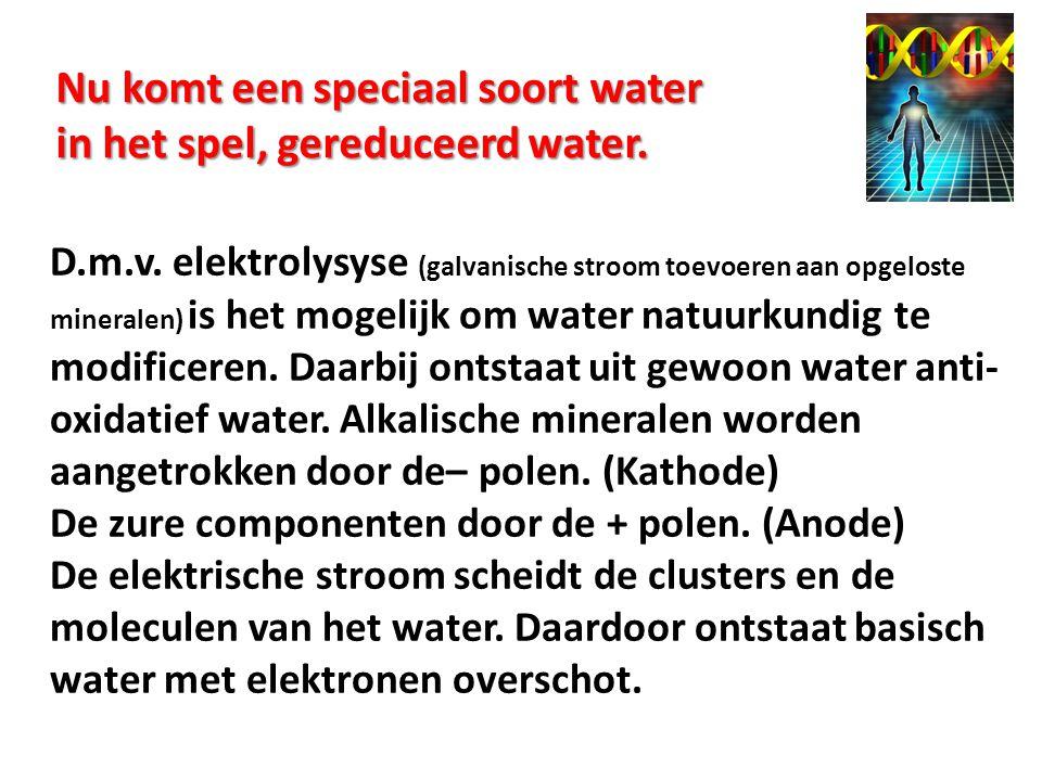 Nu komt een speciaal soort water in het spel, gereduceerd water.