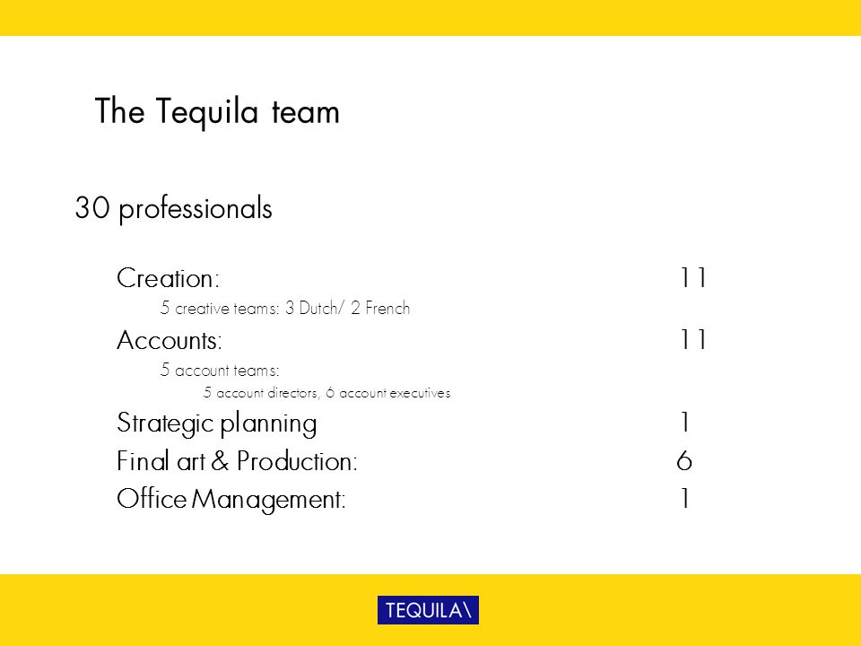 The Tequila team 30 professionals Creation: 11 Accounts: 11