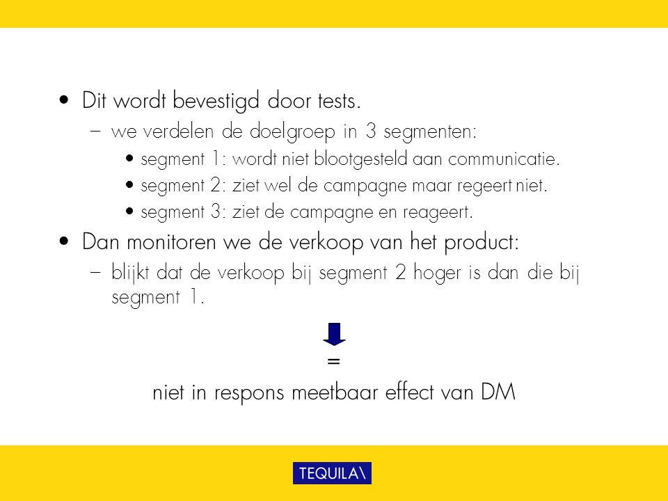niet in respons meetbaar effect van DM
