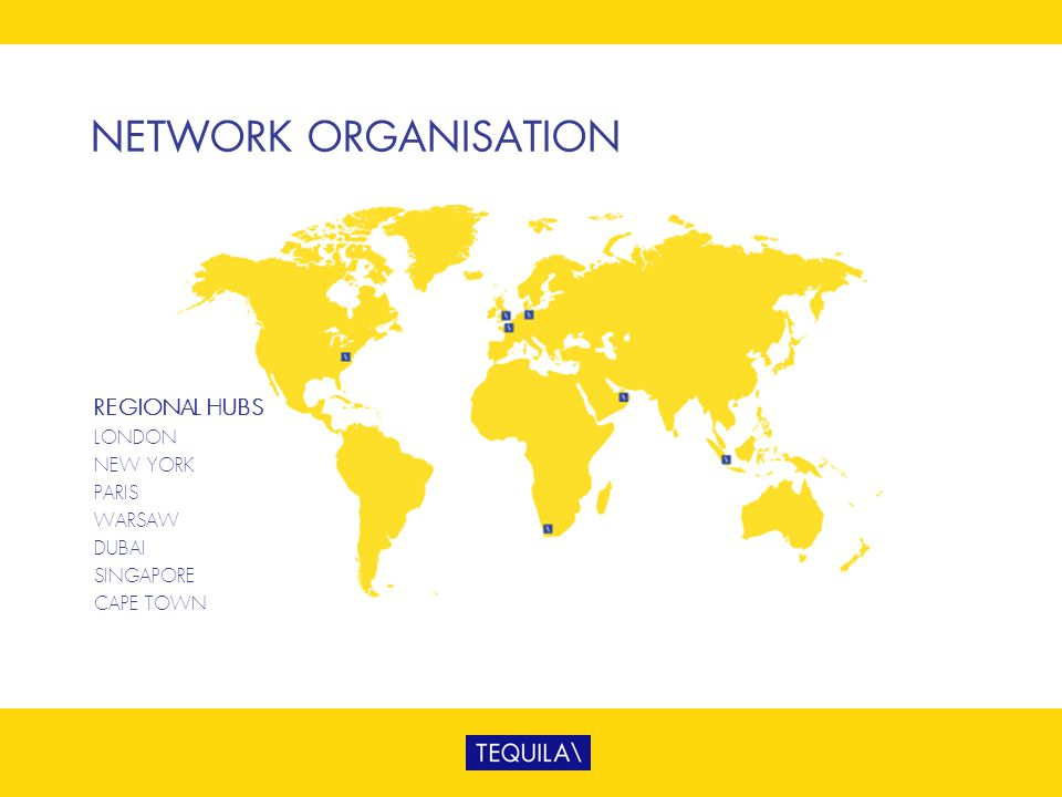 NETWORK ORGANISATION REGIONAL HUBS LONDON NEW YORK PARIS WARSAW DUBAI