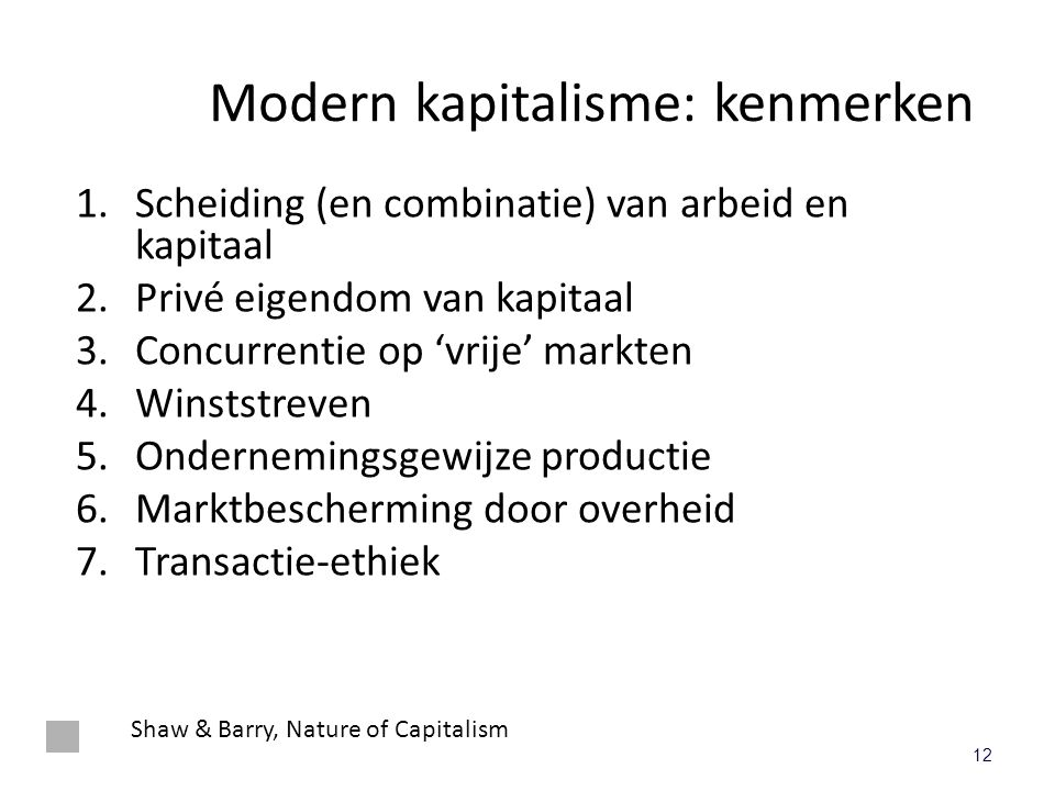 Modern kapitalisme: kenmerken