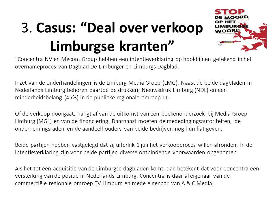 3. Casus: Deal over verkoop Limburgse kranten