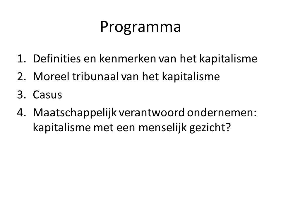 Programma Definities en kenmerken van het kapitalisme