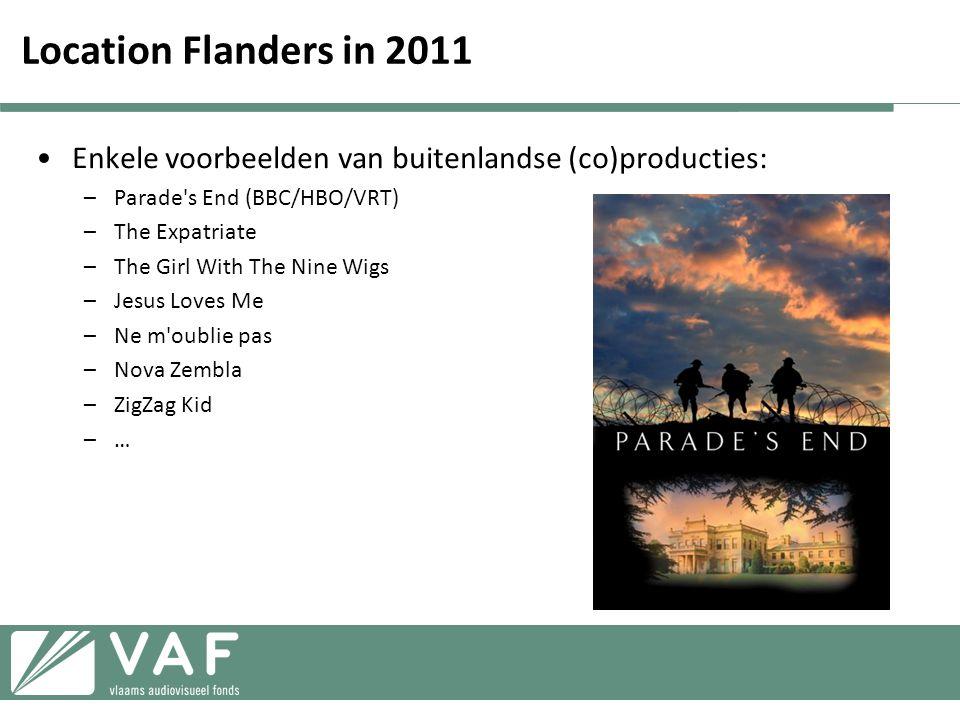 Location Flanders in 2011 Enkele voorbeelden van buitenlandse (co)producties: Parade s End (BBC/HBO/VRT)