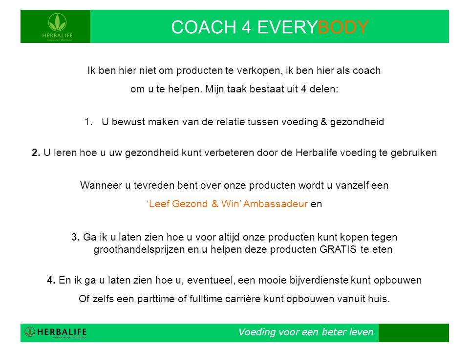 COACH 4 EVERYBODY Ik ben hier niet om producten te verkopen, ik ben hier als coach. om u te helpen. Mijn taak bestaat uit 4 delen: