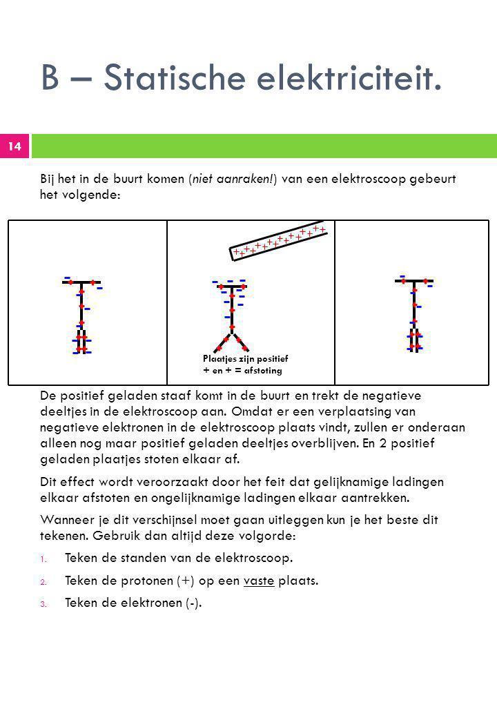 B – Statische elektriciteit.