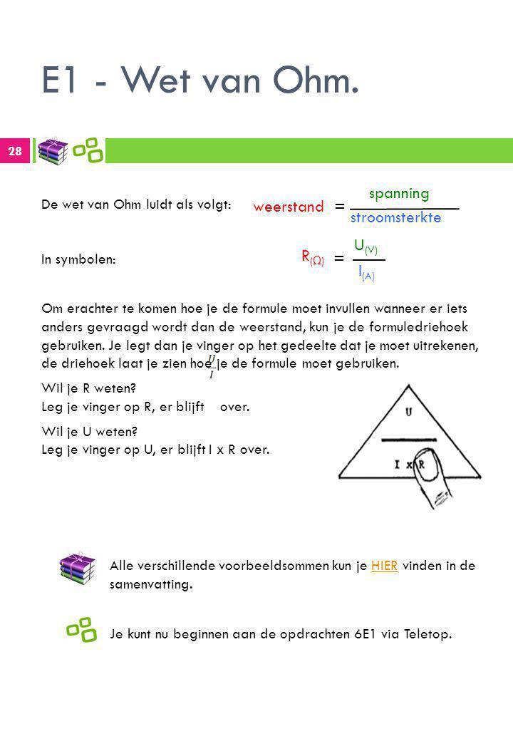 E1 - Wet van Ohm. weerstand = spanning stroomsterkte R(Ω) = U(V) I(A)