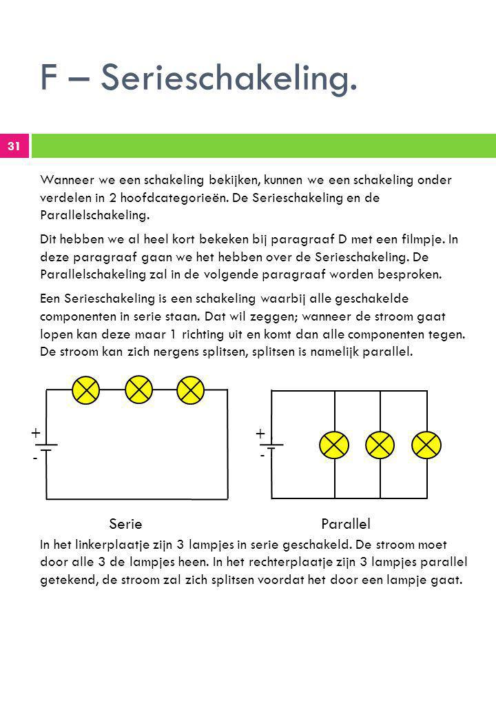 F – Serieschakeling. + + - - Serie Parallel