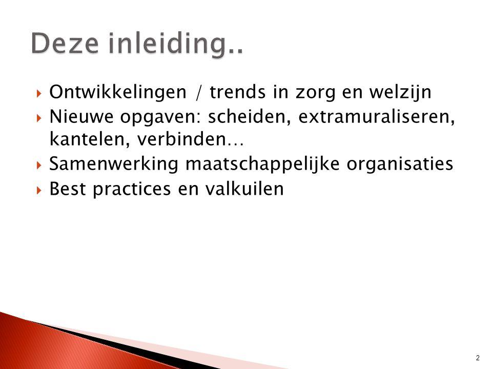 Deze inleiding.. Ontwikkelingen / trends in zorg en welzijn