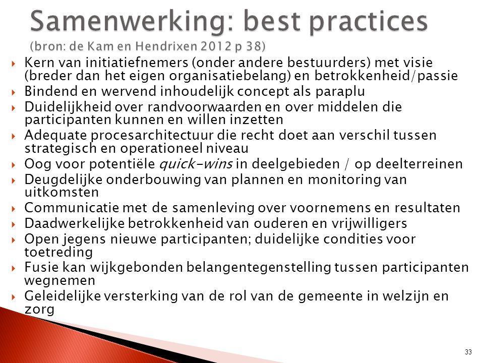 Samenwerking: best practices (bron: de Kam en Hendrixen 2012 p 38)