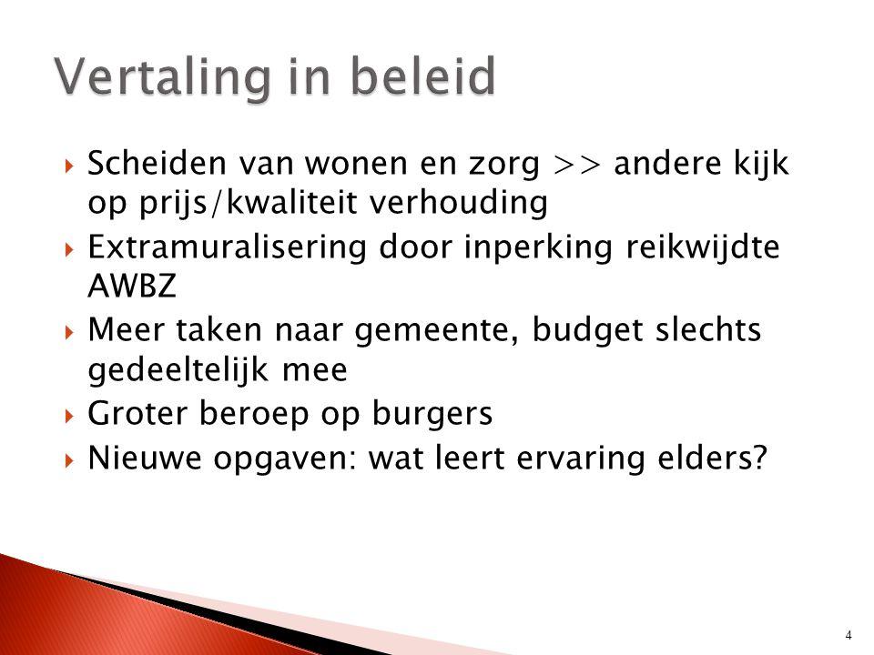 Vertaling in beleid Scheiden van wonen en zorg >> andere kijk op prijs/kwaliteit verhouding. Extramuralisering door inperking reikwijdte AWBZ.