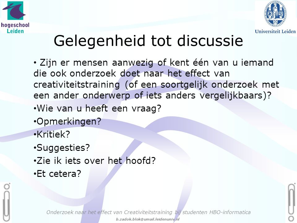 Gelegenheid tot discussie