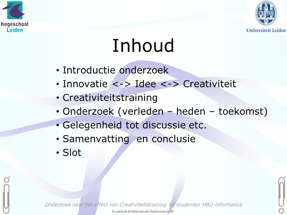Inhoud Introductie onderzoek