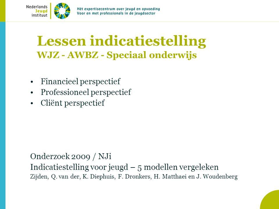 Lessen indicatiestelling WJZ - AWBZ - Speciaal onderwijs