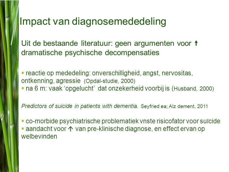 Impact van diagnosemededeling