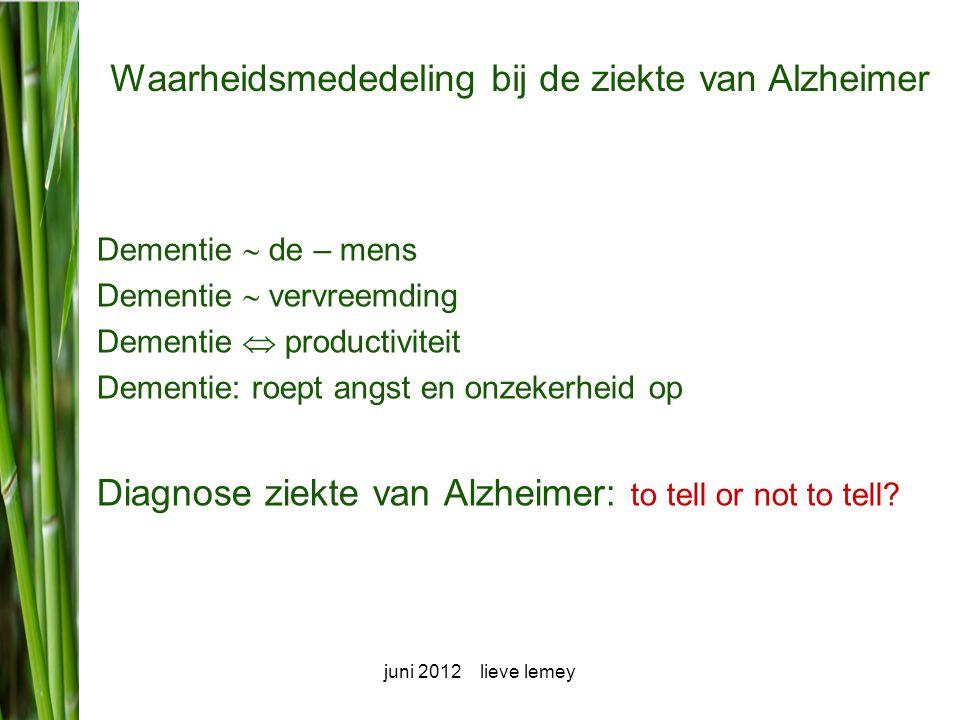 Waarheidsmededeling bij de ziekte van Alzheimer