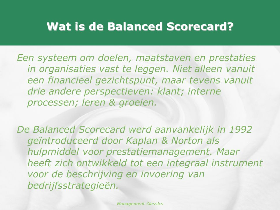 Wat is de Balanced Scorecard