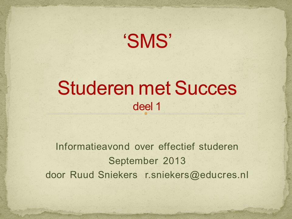 'SMS' Studeren met Succes deel 1