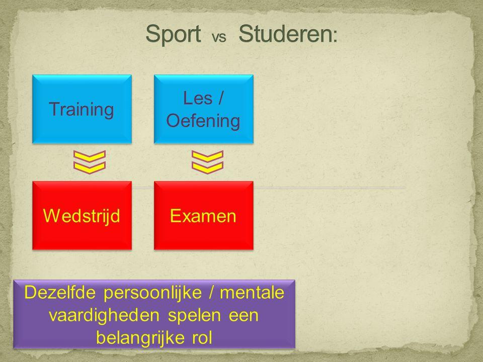 Sport vs Studeren: Training Les / Oefening Wedstrijd Examen
