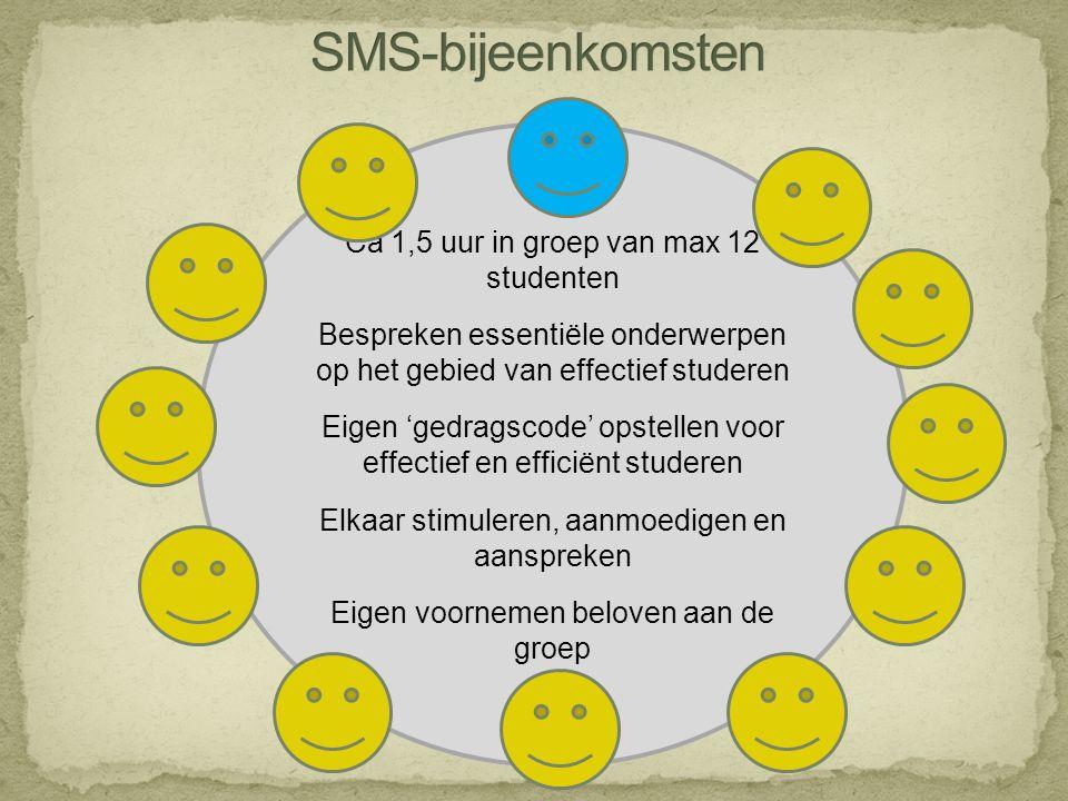 SMS-bijeenkomsten Ca 1,5 uur in groep van max 12 studenten