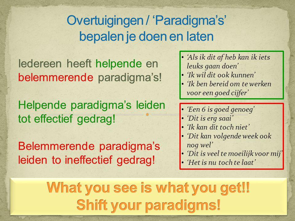 Overtuigingen / 'Paradigma's' bepalen je doen en laten