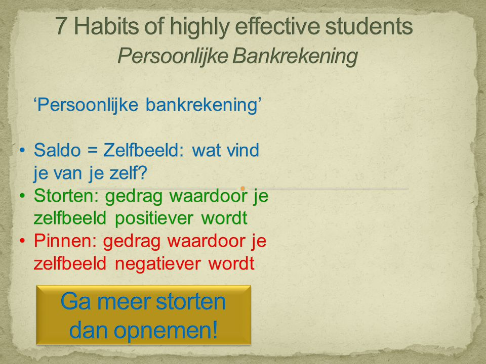 7 Habits of highly effective students Persoonlijke Bankrekening