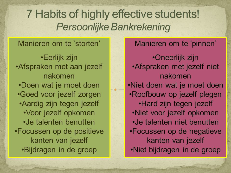 7 Habits of highly effective students! Persoonlijke Bankrekening