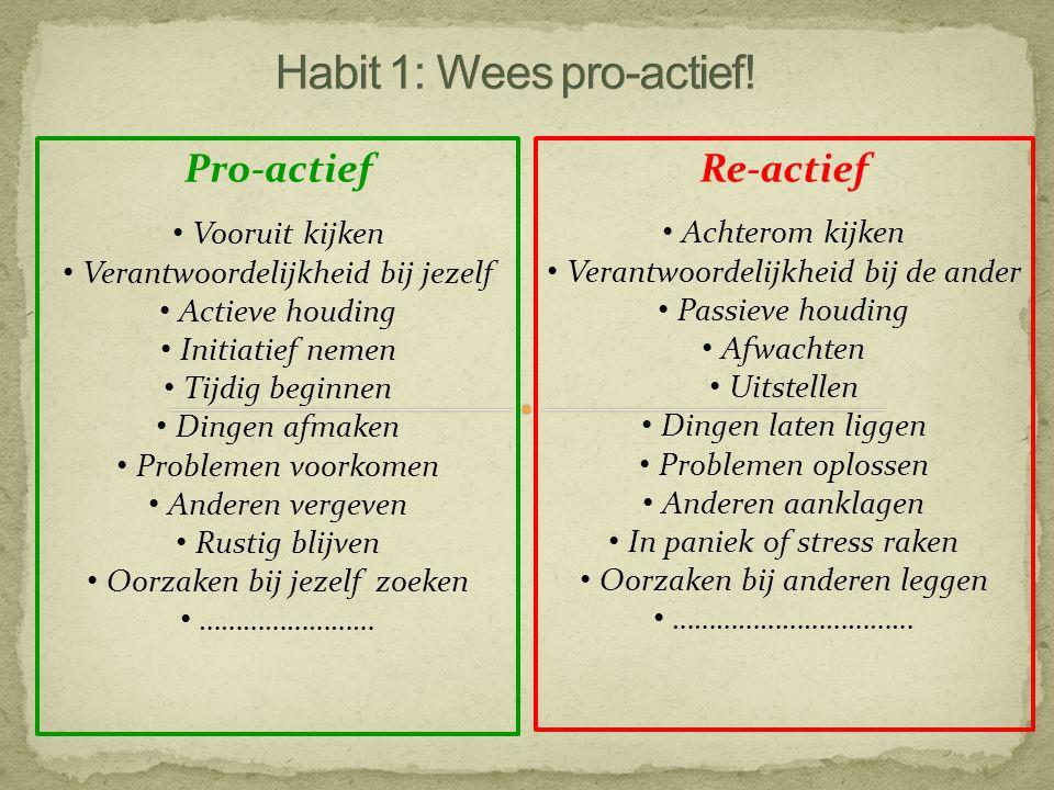 Habit 1: Wees pro-actief!