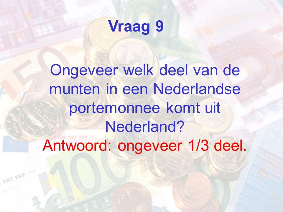 Vraag 9 Ongeveer welk deel van de munten in een Nederlandse portemonnee komt uit Nederland Antwoord: ongeveer 1/3 deel.