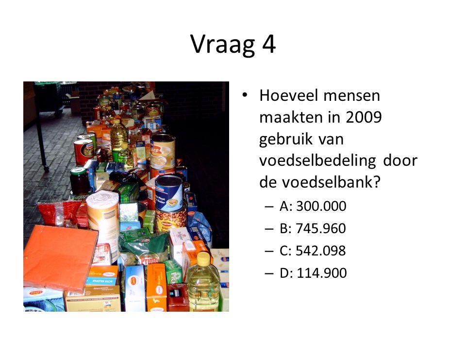 Vraag 4 Hoeveel mensen maakten in 2009 gebruik van voedselbedeling door de voedselbank A: 300.000.