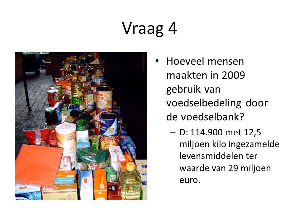 Vraag 4 Hoeveel mensen maakten in 2009 gebruik van voedselbedeling door de voedselbank