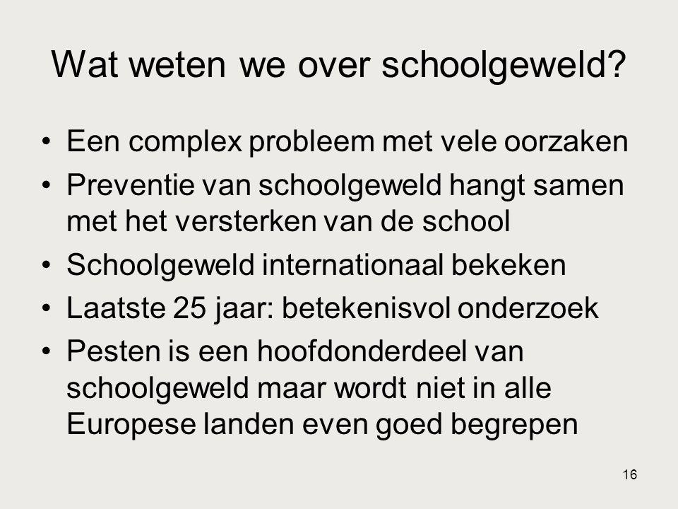 Wat weten we over schoolgeweld