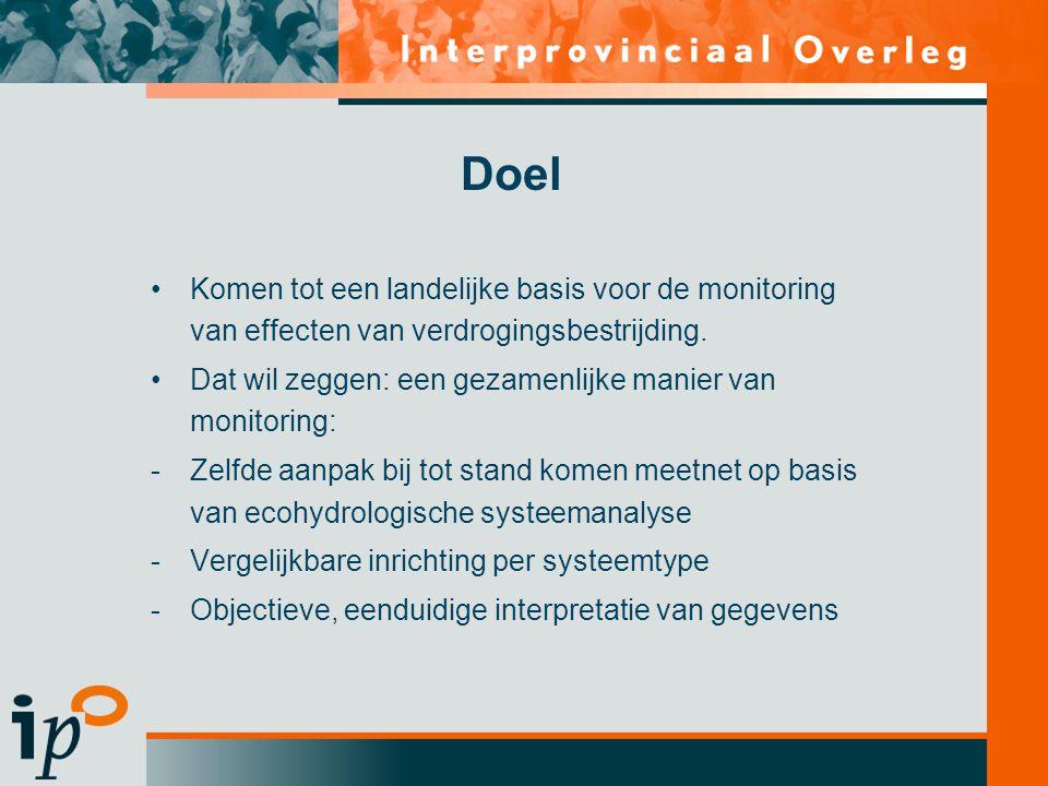 Doel Komen tot een landelijke basis voor de monitoring van effecten van verdrogingsbestrijding.