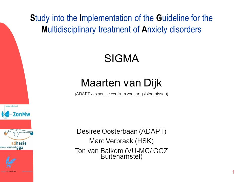 Study into the Implementation of the Guideline for the Multidisciplinary treatment of Anxiety disorders