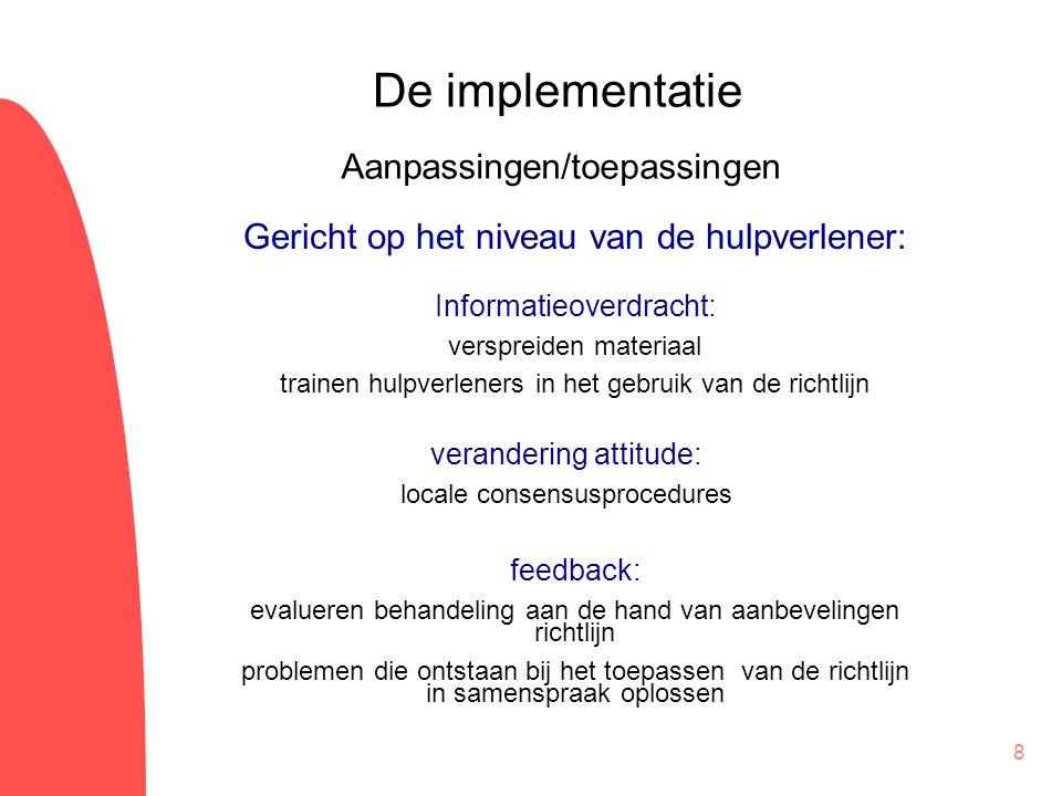 De implementatie Aanpassingen/toepassingen