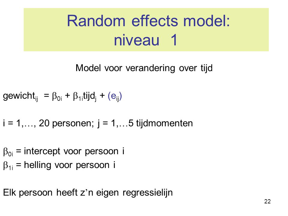 Random effects model: niveau 1