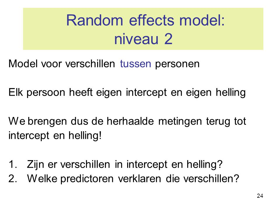 Random effects model: niveau 2