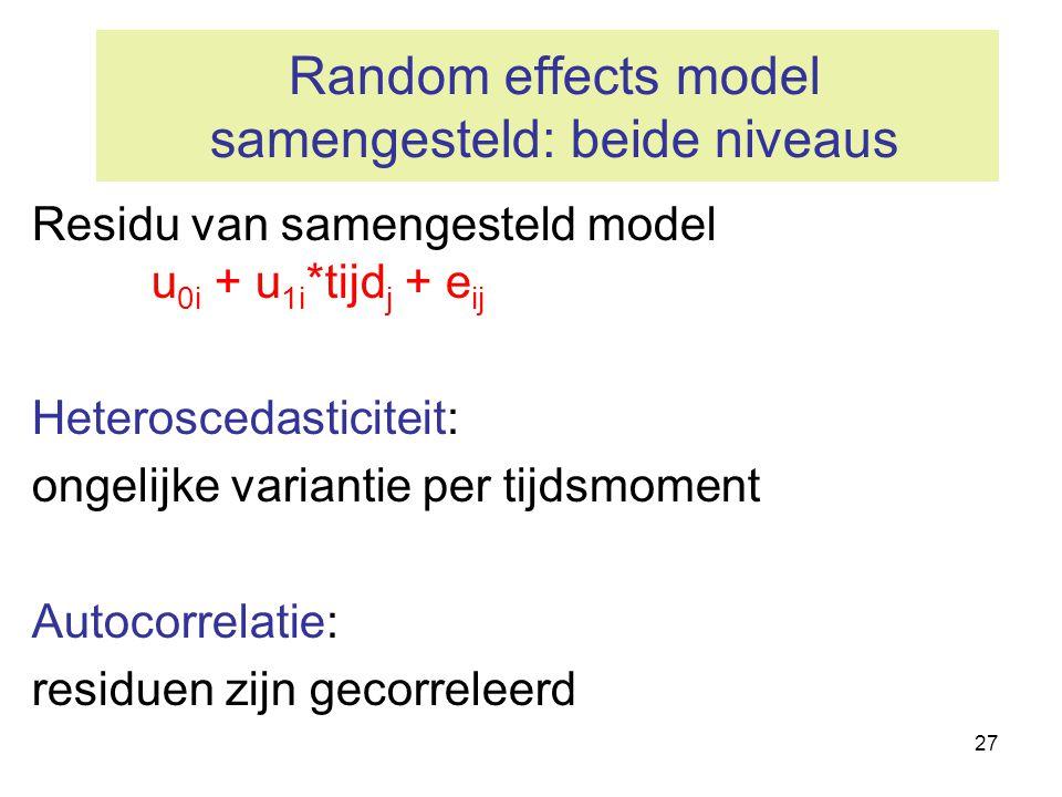 Random effects model samengesteld: beide niveaus