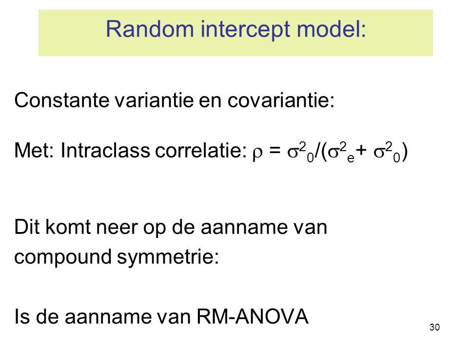 Random intercept model: