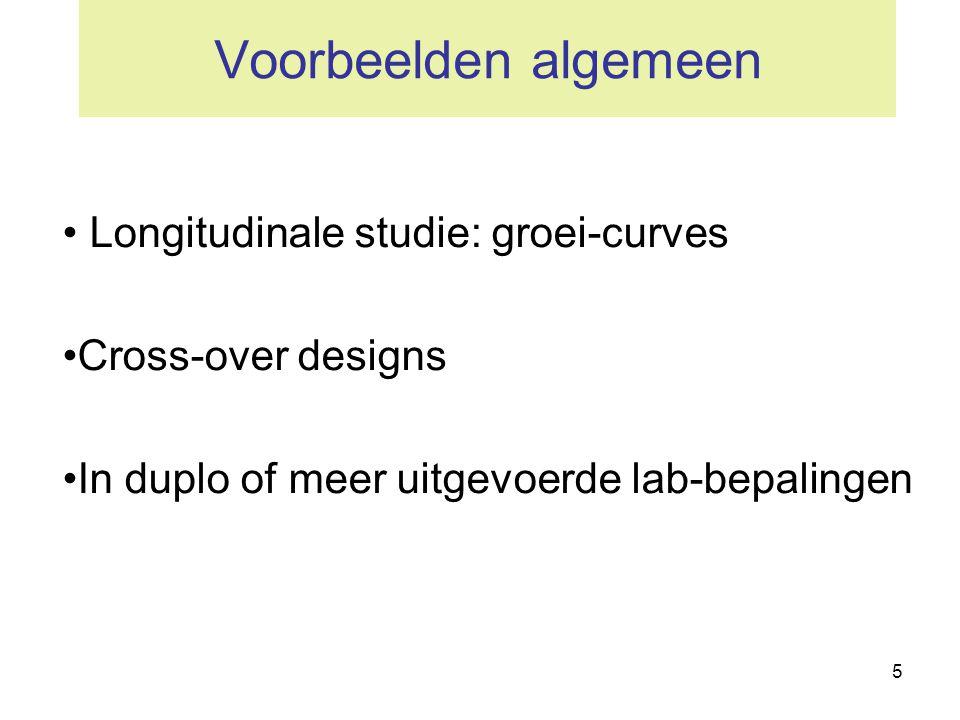 Voorbeelden algemeen Longitudinale studie: groei-curves