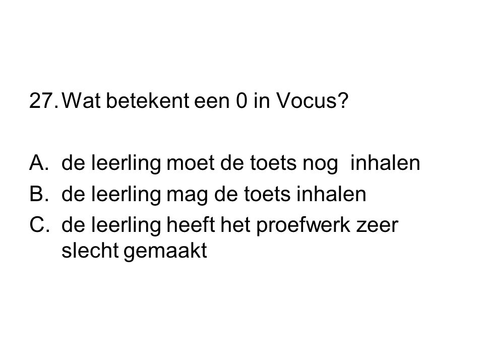 Wat betekent een 0 in Vocus