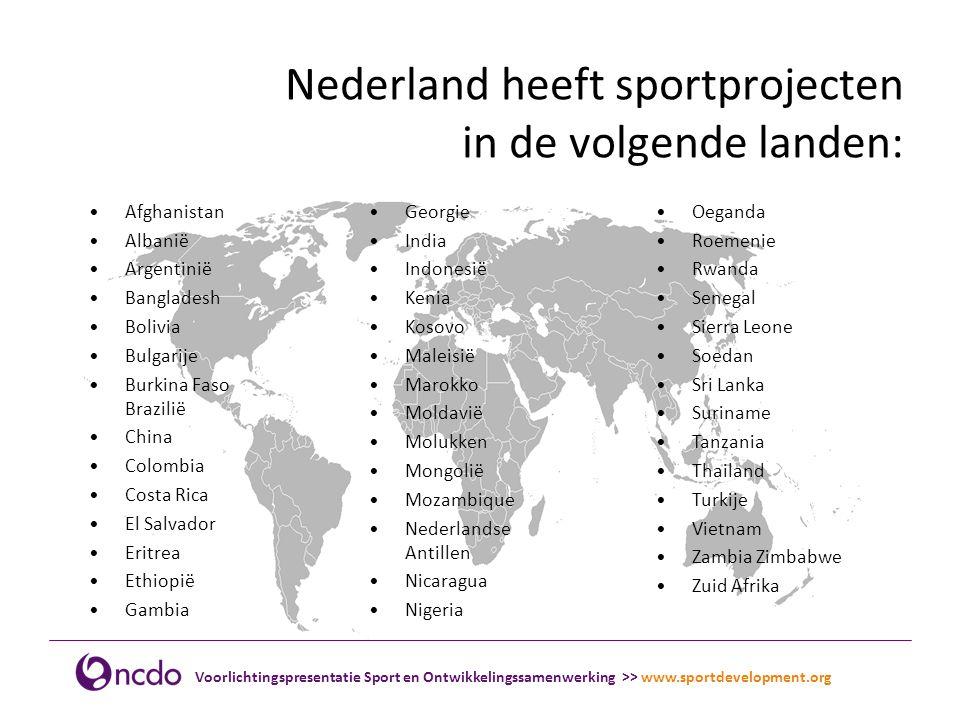 Nederland heeft sportprojecten in de volgende landen: