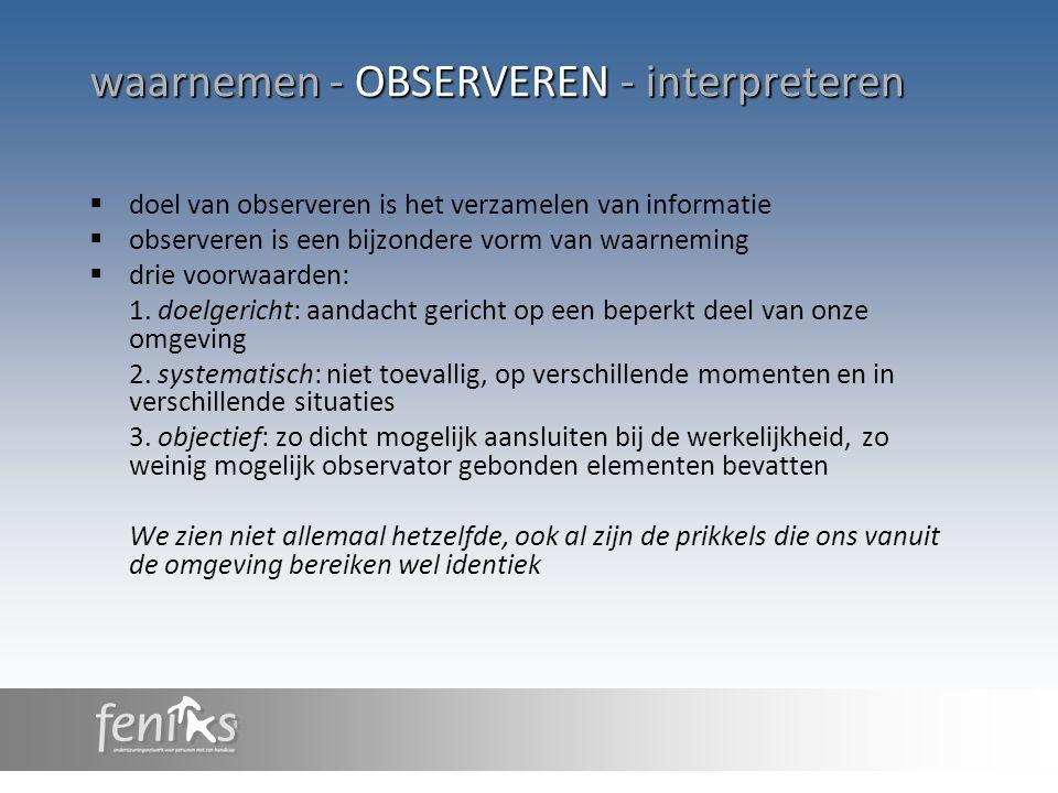waarnemen - OBSERVEREN - interpreteren
