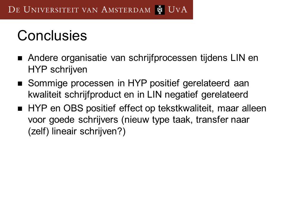 Conclusies Andere organisatie van schrijfprocessen tijdens LIN en HYP schrijven.